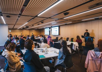 Kirsten Varela addresses fellow students at the 2019 Communications Careers Forum