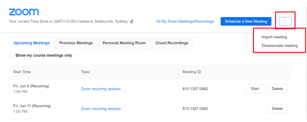 Zoom - import meeting