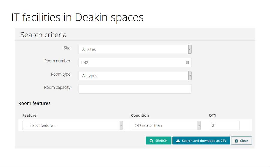 Deakin IT facilities search menu