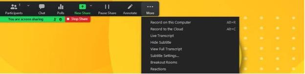 Zoom dropdown menu to select live caption